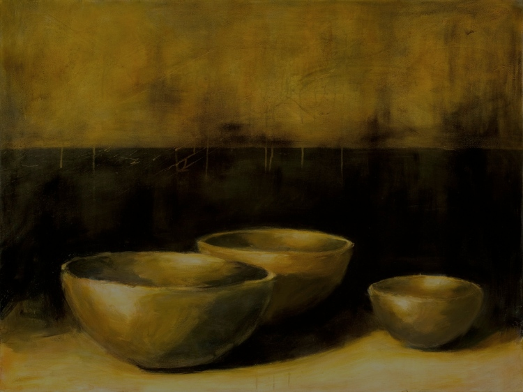 """""""Three Bowls in a Darkened Space"""", 40""""x30"""", oil, acrylic on canvas."""