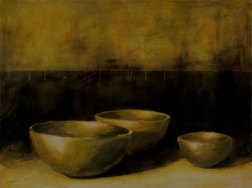 """Three Bowls in a Darkened Space"", 40""x30"", oil, acrylic on canvas."