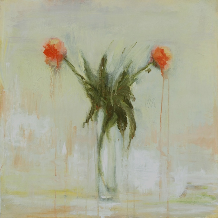 """""""Two Peonies with Drips"""", 24""""x24"""", acrylic on canvas."""